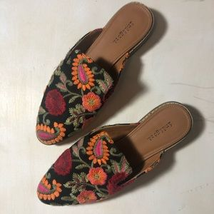Black Mules with Floral Design
